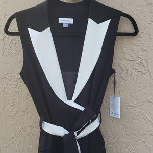 NWT Calvin Klein belted tuxedo dress!